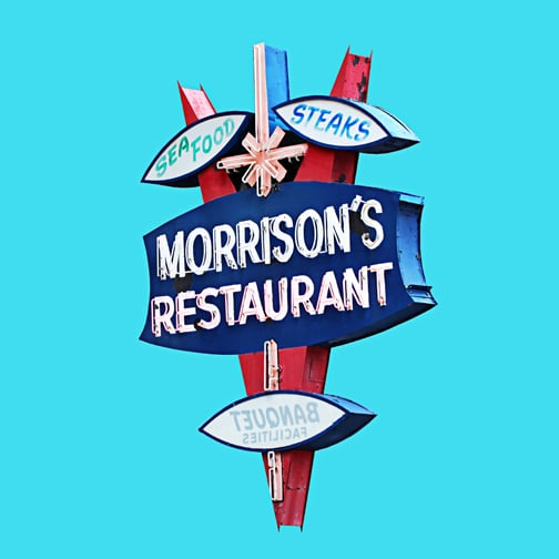 "Aqua Morrison's Restaurant - 17""x17"" digital fine art print - $325 - #1/20 SOLD"