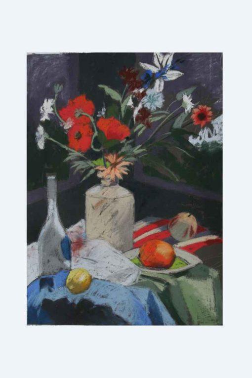 Margaret Hughes - Flowers and blue bottle