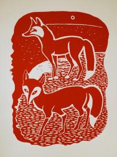 Vadim Vaskovsky - Two Foxes (maroon)